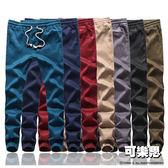『可樂思』純素面抽繩縮口長褲-共七色【BM-K8821】