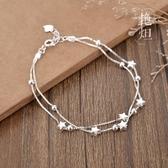 艷炟簡約雙層銀手鏈女925純銀森繫星星學生個性閨蜜生日禮物