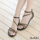 amai層次細帶螺紋繞帶漆皮勾帶涼鞋 黑