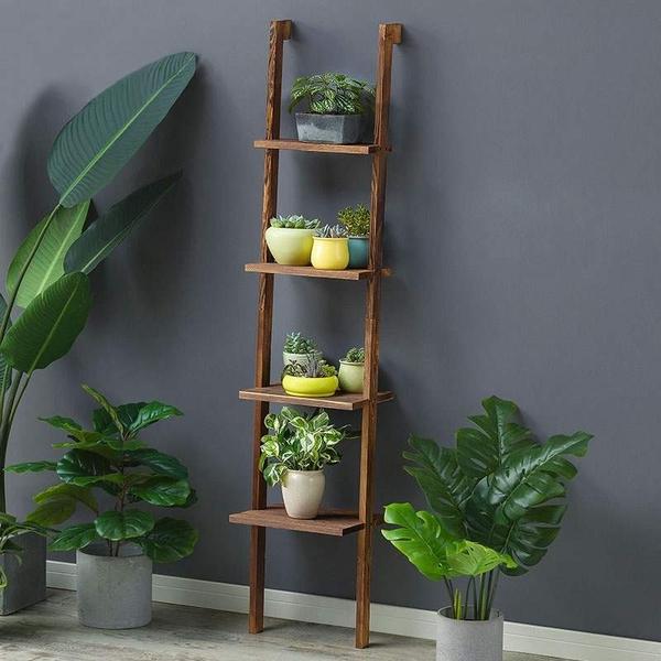 多層實木梯架落地式花架子室內綠蘿家用多肉花盆架客廳陽台置物架