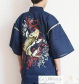 浴袍 日本外貿原單純棉男甚平浴衣和服日式短袖睡衣和服家居服龍鯉魚 居優佳品