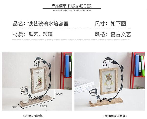 創意擺件花瓶水培北歐簡約鐵藝木質桌面客廳房間6寸照片相框擺臺WL3080【衣好月圓】TW