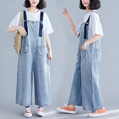 降價兩天 大尺碼民族風連身褲 牛仔背帶褲女 大尺碼寬鬆闊腿褲 九分連體褲 洋裝