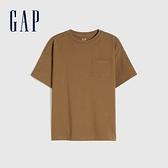 Gap男童 純棉基本款圓領短袖T恤 785201-淺棕色
