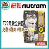 *~寵物FUN城市~*紐頓nutram-T22無穀全齡貓 火雞+雞肉+鴨肉口味貓飼料【1.8kg】成幼貓適用 貓糧