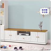 【水晶晶家具/傢俱首選】鄉村風6呎烤白低價純木心板四門單抽電視長櫃SB8210-3