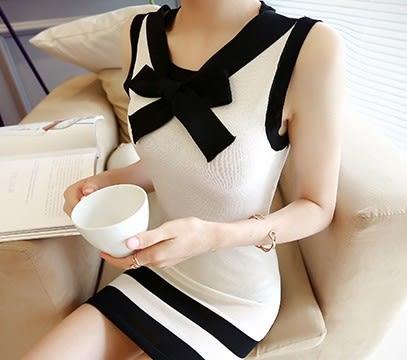 EASON SHOP(GU6246)黑白撞色小香風冰絲綁帶蝴蝶結無袖針織連身裙女彈力貼身包臀露肩洋裝韓版