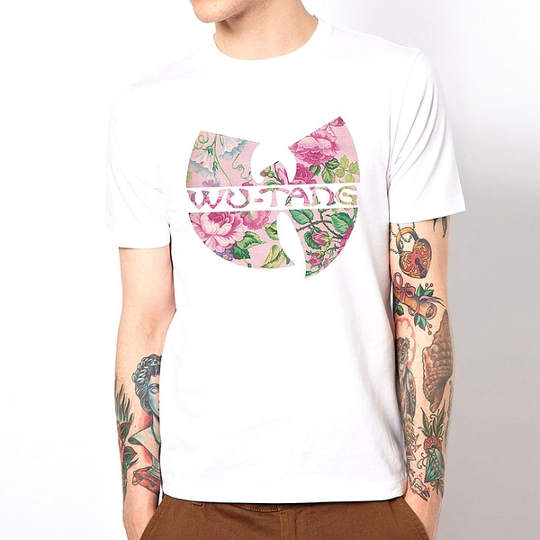 WU TANG CLAN flower短袖T恤-白色 武當派饒舌 rap hip hop Jay Z
