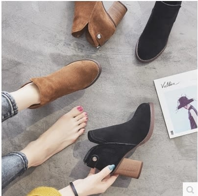 小鄧子短靴女粗跟2017秋冬新款英倫風復古磨砂真皮馬丁靴百搭高跟單靴子