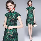中大尺碼洋裝連身裙~女旗袍改良版中國風復古連身裙H405A莎菲娜