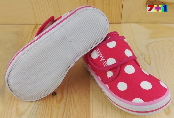 可愛點點  魔鬼氈休閒帆布鞋 《7+1童鞋》C535桃色