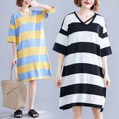 針織 韓系V領配條洋裝-中大尺碼 獨具衣格