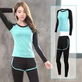 韓版秋冬季瑜伽服套裝女短袖短褲運動跑步健身服女速干衣兩件    東川崎町