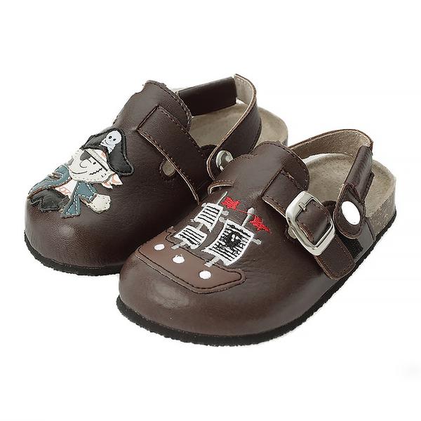 【Jingle】神鬼奇航前包後空軟木休閒鞋(質感咖兒童款)