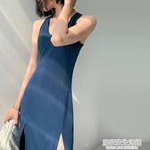 2020新款夏裝藍色洋裝女氣質修身高腰顯瘦開叉無袖性感背心裙子 中秋節全館免運