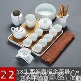 茶具簡約家用茶具套裝羊脂玉白瓷手工描金陶瓷整套功夫茶壺茶杯 衣間迷你屋LX