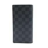 【台中米蘭站】全新品 Louis Vuitton Brazza系列 Damier 棋盤格帆布對開長夾(N62665-黑灰)