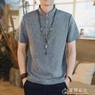 棉麻T恤夏季中國風男裝亞麻料短袖T恤復古盤扣唐裝棉麻衣半截袖上衣 立領 快速出貨