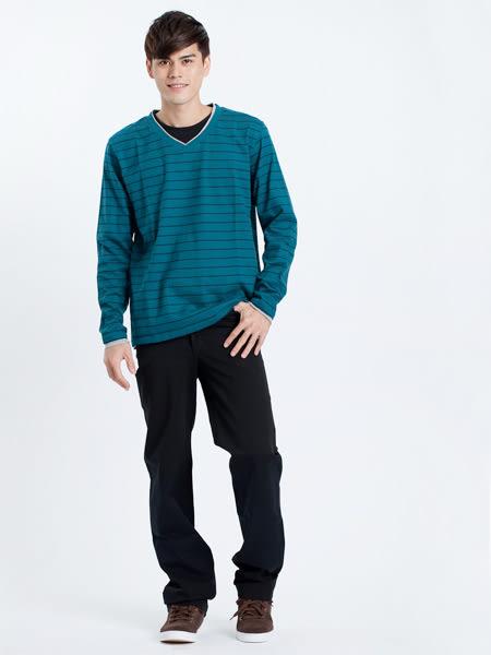 【BOBSON】男款雙向伸縮直筒褲(黑灰87)