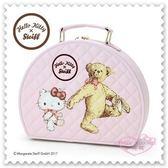 ♥小花花日本精品♥ Hello Kitty 手提箱 置物箱 皮革壓紋 站姿 熊 粉色 內裡滿版圖 42152101