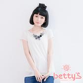 betty's貝蒂思 圓領短袖捲邊針織衫(白色)