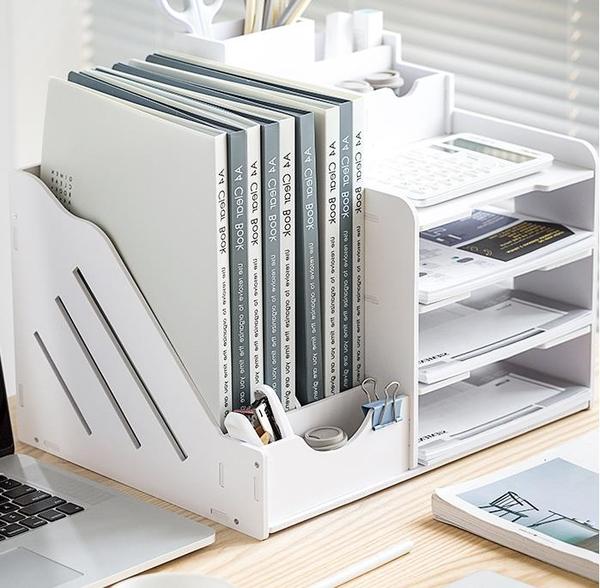 文件架 收納架 文件架办公桌桌面书架多层大容量文件框文件夹夹子文具整理