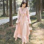 禮服 荷葉邊飄逸雪紡長裙超仙氣質收腰顯瘦喇叭袖禮服度假洋裝