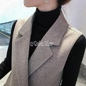 毛呢馬甲女中長款2010季新款韓版西裝領馬夾無袖坎肩外套顯瘦 SUPER SALE 快速出貨