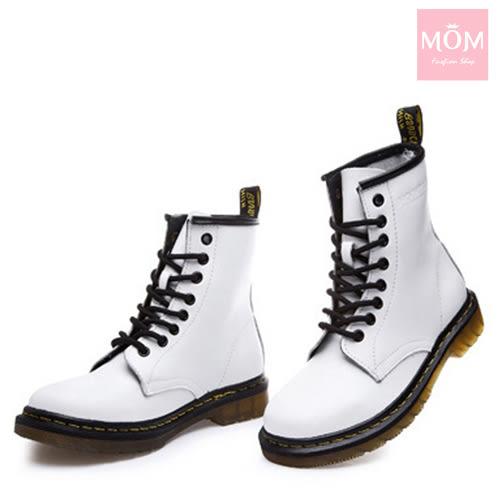 歐美經典款8孔綁帶真皮馬丁靴 短靴 工程靴 白 *MOM*