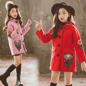 女童毛呢外套秋冬裝正韓洋氣中長版兒童民族風繡花昵大衣-小精靈