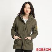 BOBSON 女款軍風長版外套(軍綠34112-41)