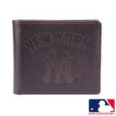背包族【MLB美國大聯盟】洋基 簡單輕薄牛皮皮夾/短夾/錢包/男夾(咖啡色)