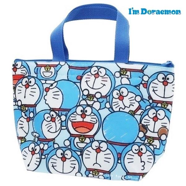 日本限定 哆啦a夢 多表情 滿版 保溫袋 / 保冷袋 / 手提袋 / 餐袋