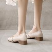 女瑪麗珍鞋 一字帶淺口小香風瑪麗珍方頭粗跟單鞋女百搭休閒中跟新款正韓【快速出貨】