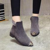 短靴秋冬女鞋粗跟短靴女單靴踝靴磨砂短筒馬丁靴英倫風學生靴 果果輕時尚