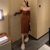 長袖洋裝 秋冬新款復古氣質針織裙性感一字領露肩長袖打底裙潮