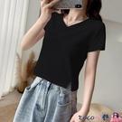 熱賣露臍上衣 黑色v領短款T恤女短袖夏2021年新款設計感小眾露臍緊身上衣ins潮【618 狂歡】
