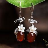 玉耳環 原創設計小鳥紅色玉髓耳墜做舊純銀個性文藝流行飾品 巴黎春天