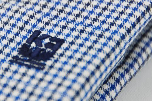 【金‧安德森】藍黑白細格長袖襯衫