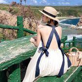 馬爾代夫沙灘裙很仙的連身裙海南三亞海邊度假白色露背百褶吊帶裙