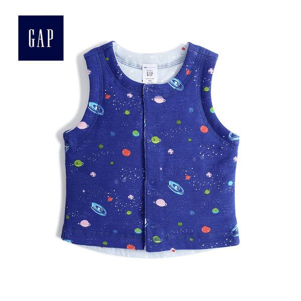 Gap男嬰兒 童趣印花雙面按扣棉背心 382858-明亮藍