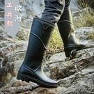 中高筒雨鞋男防滑時尚男士外穿水鞋防水釣魚膠鞋套鞋勞保工作雨靴 小時光生活館