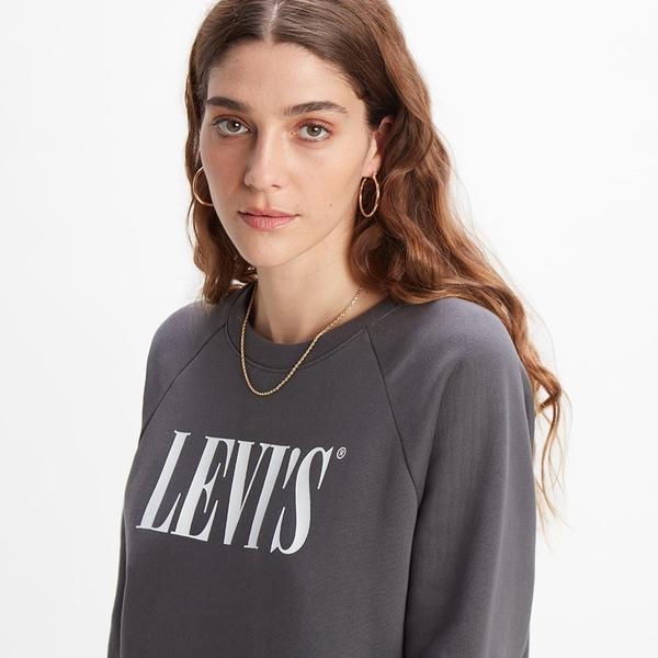 Levis 女款 長版大學T洋裝 / Serif Logo / 內刷毛