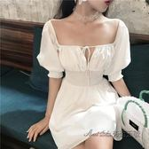 夏季優雅氣質白色仙女裙氣質方領漏鎖骨高腰收腰短袖連身裙女2018 後街五號