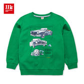 JJLKIDS 男童 跑車印花純棉長袖圓領T(蔥綠)