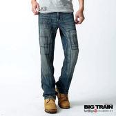 BIG TRAIN 日式繡花貼袋垮褲-男-中藍