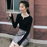 長袖針織衫春秋女士打底上衣薄款毛衣緊身黑色v領修身內搭冬外穿 嬌糖小屋