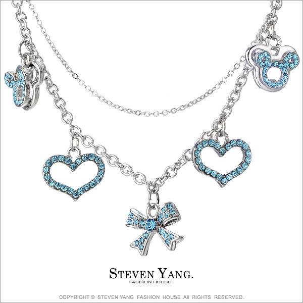 項鍊 正白K飾「繽紛樂園」愛心 蝴蝶結 藍鋯款 附鋼鍊