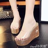 鬆糕拖鞋 新款夏季透明亮片厚底坡跟魚嘴高跟防水臺女涼鞋鬆糕拖鞋舒適防滑 小天使