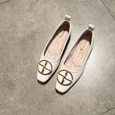 秋平底小方頭單鞋女淺口圓扣軟底奶奶鞋軟皮舒適歐美豆豆鞋上班鞋